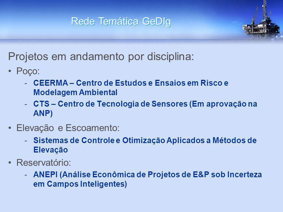 Projetos em andamento por disciplina: Poço: -CEERMA – Centro de Estudos e Ensaios em Risco e Modelagem Ambiental -CTS – Centro de Tecnologia de Sensor