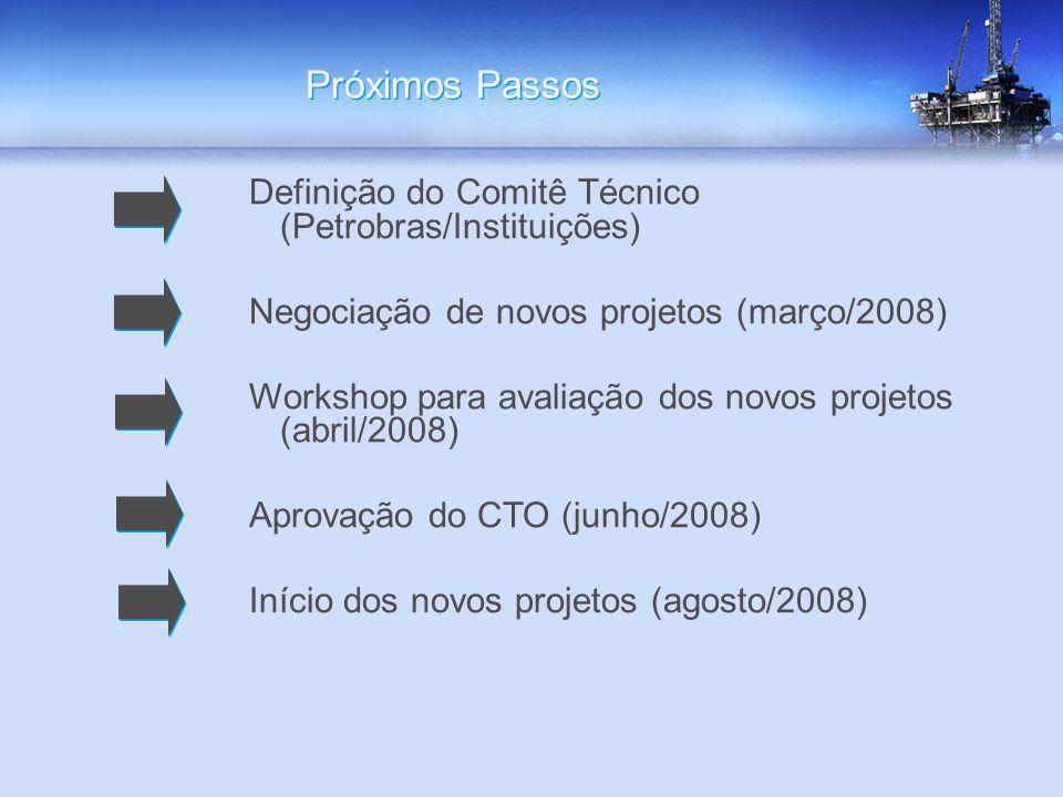 Próximos Passos Definição do Comitê Técnico (Petrobras/Instituições) Negociação de novos projetos (março/2008) Workshop para avaliação dos novos proje