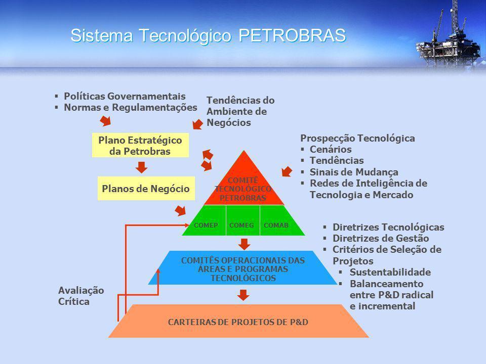 Sistema Tecnológico PETROBRAS COMITÊS OPERACIONAIS DAS ÁREAS E PROGRAMAS TECNOLÓGICOS CARTEIRAS DE PROJETOS DE P&D Diretrizes Tecnológicas Diretrizes