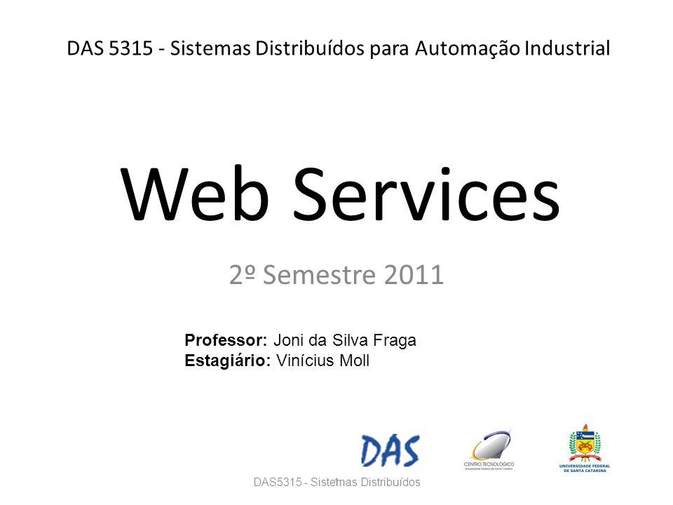 DAS 5315 - Sistemas Distribuídos para Automação Industrial 2º Semestre 2011 DAS5315 - Sistemas Distribuídos1 Professor: Joni da Silva Fraga Estagiário: Vinícius Moll Web Services