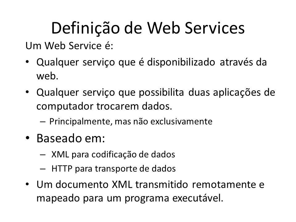 Definição de Web Services Um Web Service é: Qualquer serviço que é disponibilizado através da web. Qualquer serviço que possibilita duas aplicações de