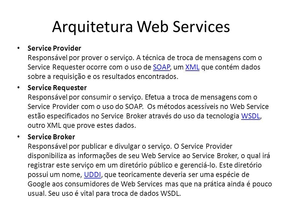 Arquitetura Web Services Service Provider Responsável por prover o serviço. A técnica de troca de mensagens com o Service Requester ocorre com o uso d