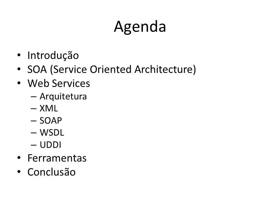 Agenda Introdução SOA (Service Oriented Architecture) Web Services – Arquitetura – XML – SOAP – WSDL – UDDI Ferramentas Conclusão