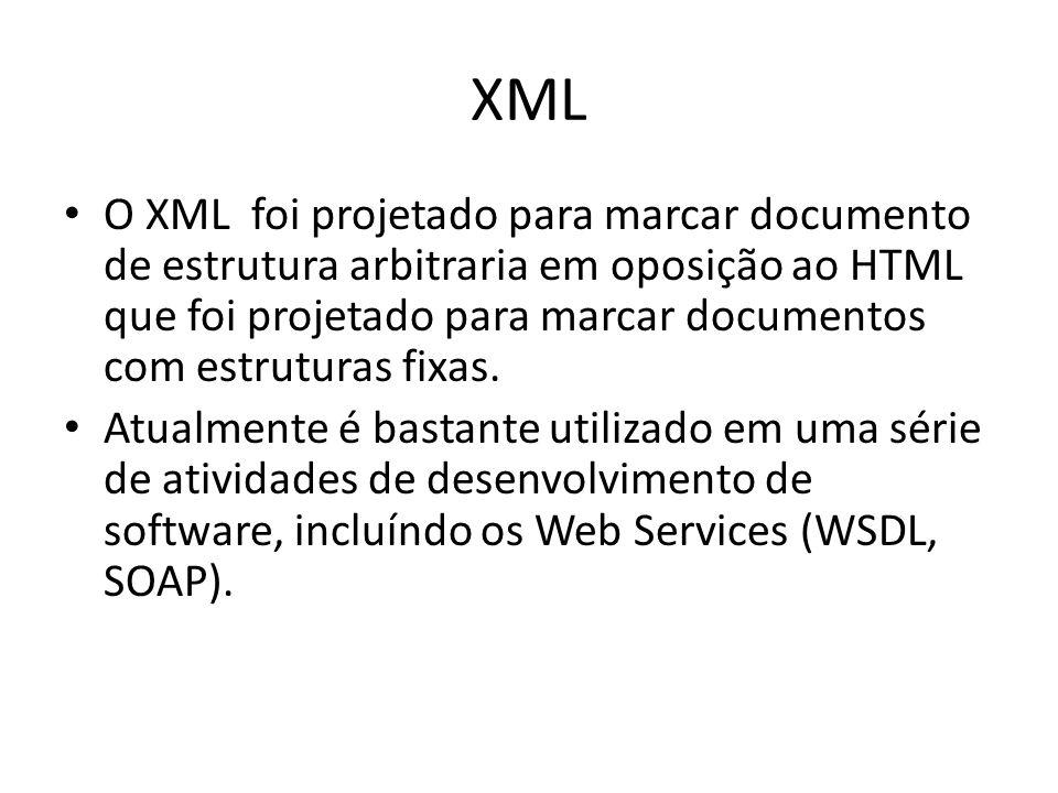 XML O XML foi projetado para marcar documento de estrutura arbitraria em oposição ao HTML que foi projetado para marcar documentos com estruturas fixas.