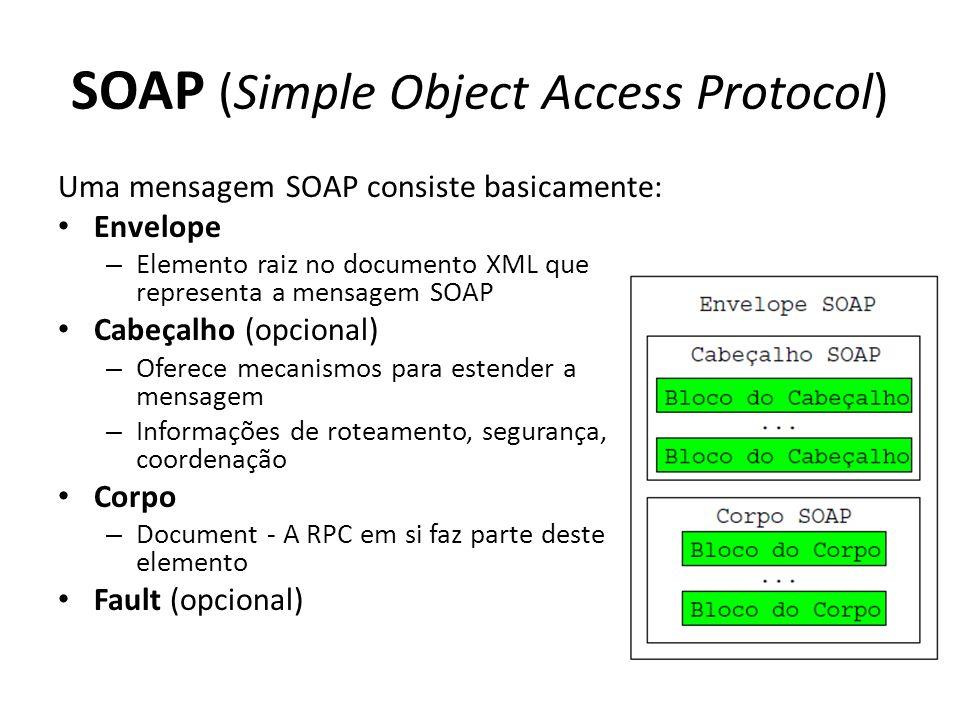 SOAP (Simple Object Access Protocol) Uma mensagem SOAP consiste basicamente: Envelope – Elemento raiz no documento XML que representa a mensagem SOAP Cabeçalho (opcional) – Oferece mecanismos para estender a mensagem – Informações de roteamento, segurança, coordenação Corpo – Document - A RPC em si faz parte deste elemento Fault (opcional)