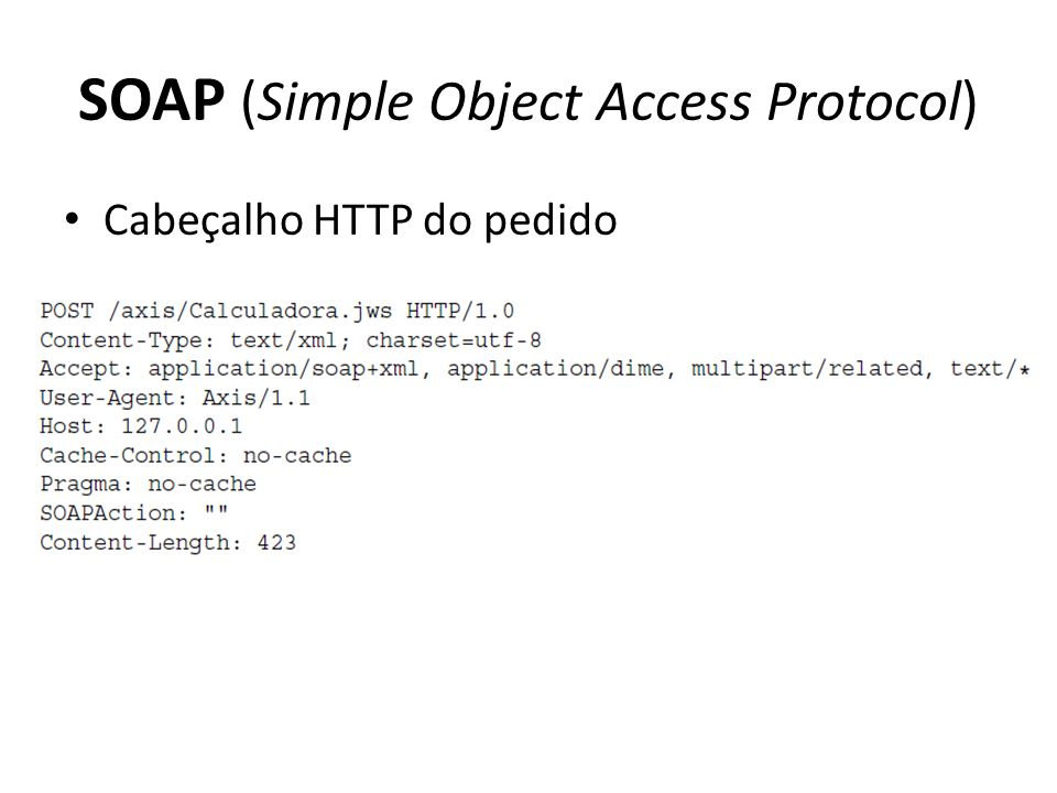SOAP (Simple Object Access Protocol) Cabeçalho HTTP do pedido