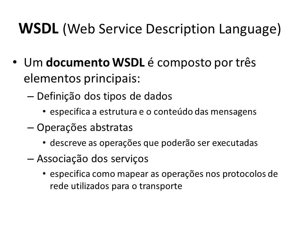 WSDL (Web Service Description Language) Um documento WSDL é composto por três elementos principais: – Definição dos tipos de dados especifica a estrutura e o conteúdo das mensagens – Operações abstratas descreve as operações que poderão ser executadas – Associação dos serviços especifica como mapear as operações nos protocolos de rede utilizados para o transporte