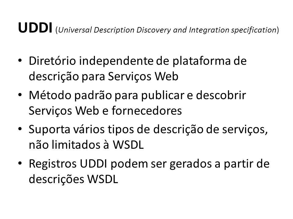 UDDI (Universal Description Discovery and Integration specification) Diretório independente de plataforma de descrição para Serviços Web Método padrão para publicar e descobrir Serviços Web e fornecedores Suporta vários tipos de descrição de serviços, não limitados à WSDL Registros UDDI podem ser gerados a partir de descrições WSDL