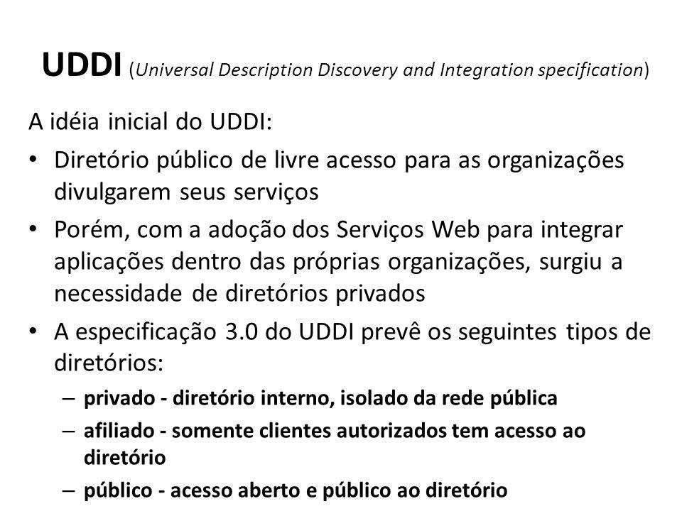UDDI (Universal Description Discovery and Integration specification) A idéia inicial do UDDI: Diretório público de livre acesso para as organizações divulgarem seus serviços Porém, com a adoção dos Serviços Web para integrar aplicações dentro das próprias organizações, surgiu a necessidade de diretórios privados A especificação 3.0 do UDDI prevê os seguintes tipos de diretórios: – privado - diretório interno, isolado da rede pública – afiliado - somente clientes autorizados tem acesso ao diretório – público - acesso aberto e público ao diretório