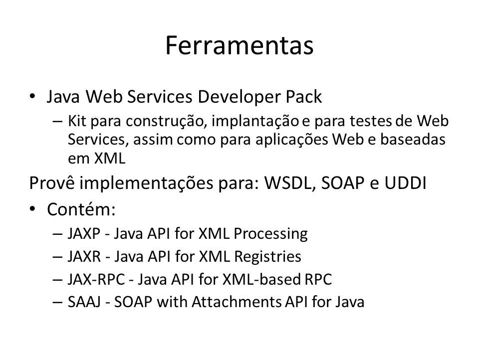 Ferramentas Java Web Services Developer Pack – Kit para construção, implantação e para testes de Web Services, assim como para aplicações Web e baseadas em XML Provê implementações para: WSDL, SOAP e UDDI Contém: – JAXP - Java API for XML Processing – JAXR - Java API for XML Registries – JAX-RPC - Java API for XML-based RPC – SAAJ - SOAP with Attachments API for Java