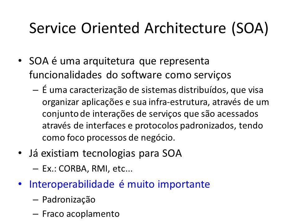 Service Oriented Architecture (SOA) SOA é uma arquitetura que representa funcionalidades do software como serviços – É uma caracterização de sistemas distribuídos, que visa organizar aplicações e sua infra-estrutura, através de um conjunto de interações de serviços que são acessados através de interfaces e protocolos padronizados, tendo como foco processos de negócio.