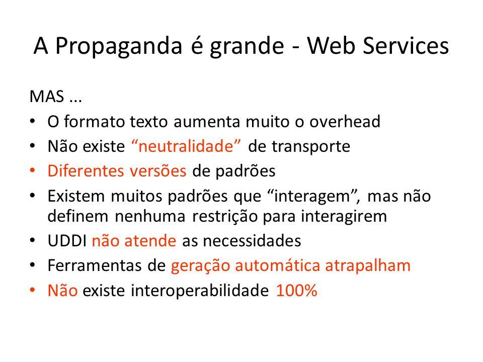 A Propaganda é grande - Web Services MAS... O formato texto aumenta muito o overhead Não existe neutralidade de transporte Diferentes versões de padrõ