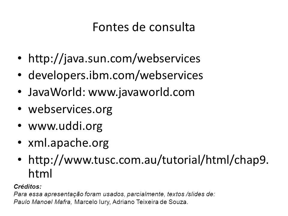Fontes de consulta http://java.sun.com/webservices developers.ibm.com/webservices JavaWorld: www.javaworld.com webservices.org www.uddi.org xml.apache