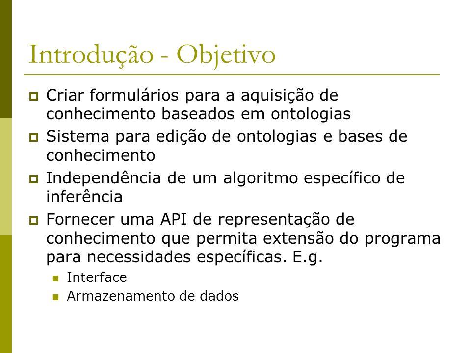 Introdução - Objetivo Criar formulários para a aquisição de conhecimento baseados em ontologias Sistema para edição de ontologias e bases de conhecime