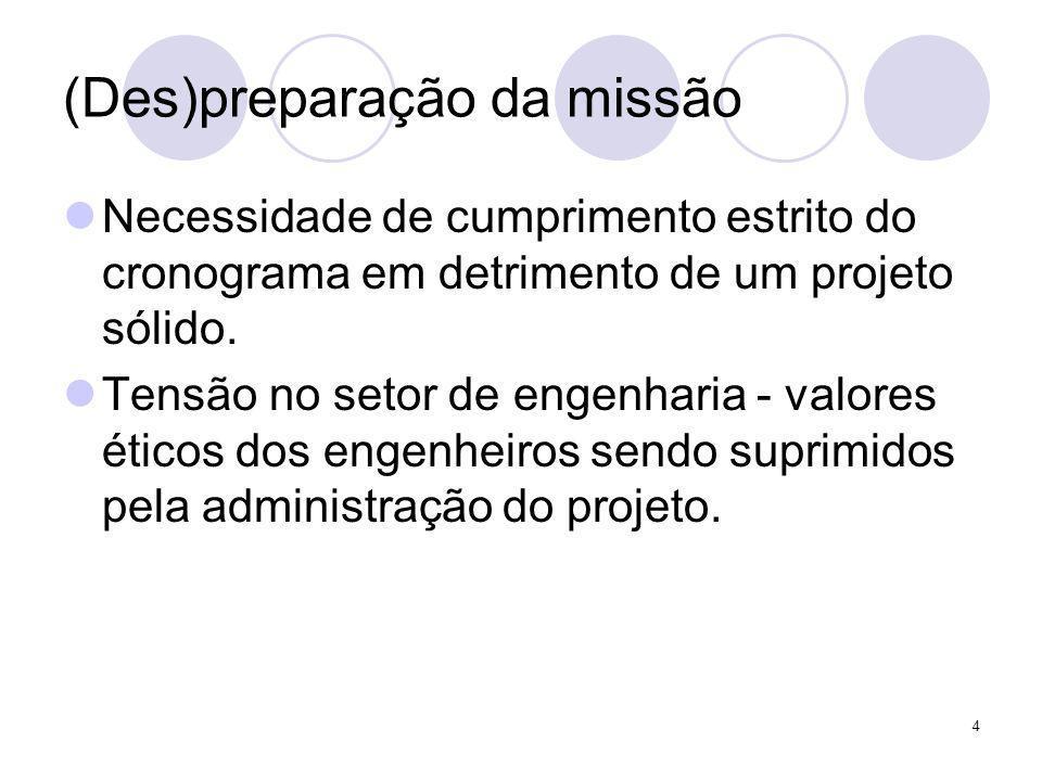4 (Des)preparação da missão Necessidade de cumprimento estrito do cronograma em detrimento de um projeto sólido. Tensão no setor de engenharia - valor