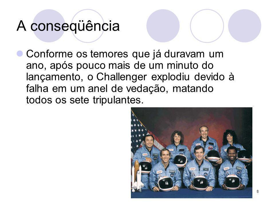 8 A conseqüência Conforme os temores que já duravam um ano, após pouco mais de um minuto do lançamento, o Challenger explodiu devido à falha em um ane