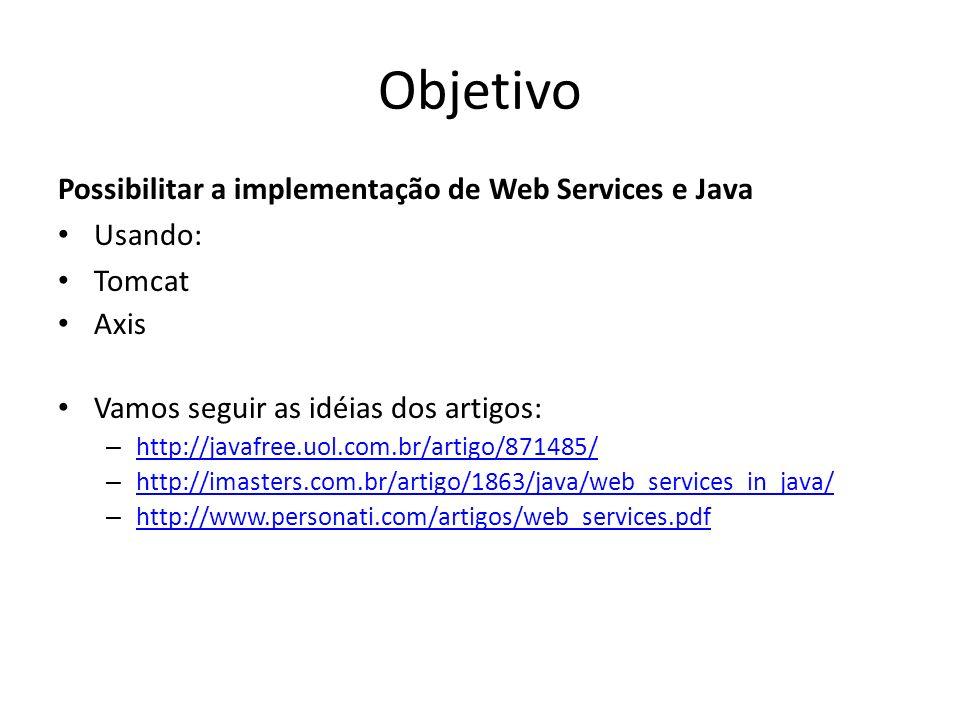 Objetivo Possibilitar a implementação de Web Services e Java Usando: Tomcat Axis Vamos seguir as idéias dos artigos: – http://javafree.uol.com.br/arti