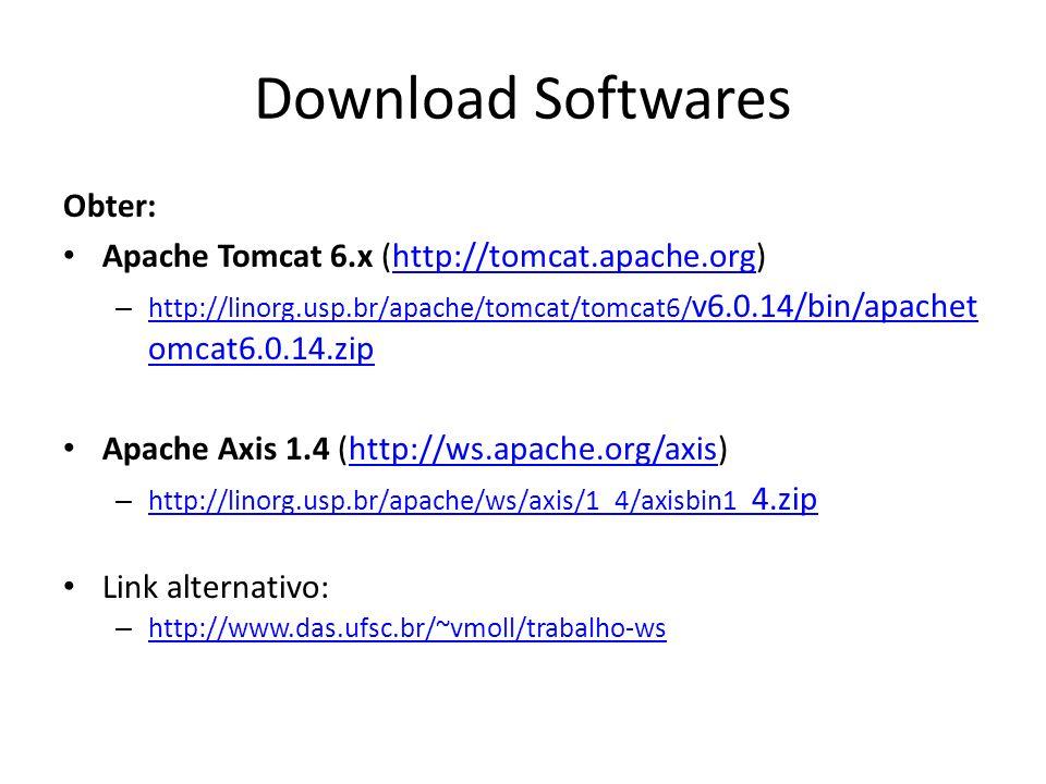Instalação Softwares Instalar e verificar se está tudo certo Apache Tomcat: 1) Definir uma variável de ambiente JAVA_HOME, informando o caminho onde se encontra a instalação do J2SE 2) Descompactar o arquivo apachetomcat6.0.14.zip em um diretório do sistema 3) Iniciar o Tomcat em TOMCAT_HOME/bin/startup.bat (ou startup.sh) Apache Axis: 1) Descompactar o arquivo axisbin1_4.zip em um diretório do sistema 2) Copiar o diretório AXIS_HOME/webapps/axis para o diretório TOMCAT_HOME/webapps/