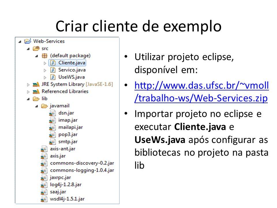 Utilizar projeto eclipse, disponível em: http://www.das.ufsc.br/~vmoll /trabalho-ws/Web-Services.zip http://www.das.ufsc.br/~vmoll /trabalho-ws/Web-Se