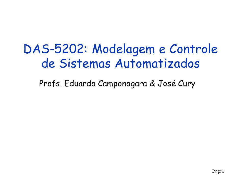 Page1 DAS-5202: Modelagem e Controle de Sistemas Automatizados Profs. Eduardo Camponogara & José Cury