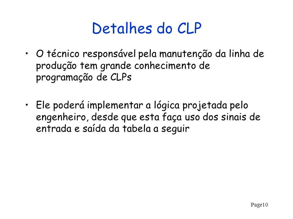 Page10 Detalhes do CLP O técnico responsável pela manutenção da linha de produção tem grande conhecimento de programação de CLPs Ele poderá implementa