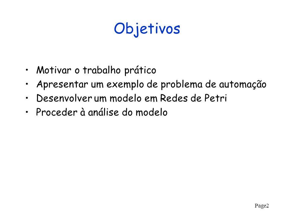 Page2 Objetivos Motivar o trabalho prático Apresentar um exemplo de problema de automação Desenvolver um modelo em Redes de Petri Proceder à análise d
