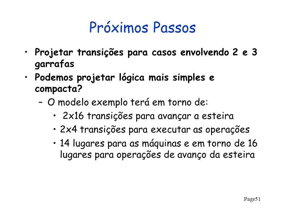 Page51 Próximos Passos Projetar transições para casos envolvendo 2 e 3 garrafas Podemos projetar lógica mais simples e compacta? –O modelo exemplo ter