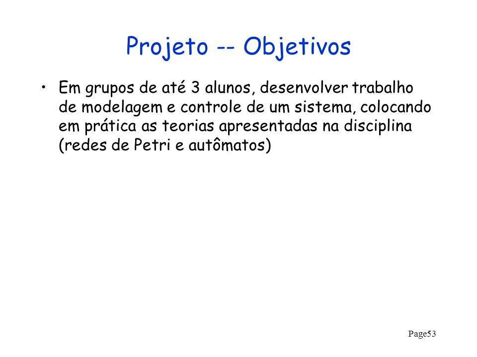 Page53 Projeto -- Objetivos Em grupos de até 3 alunos, desenvolver trabalho de modelagem e controle de um sistema, colocando em prática as teorias apr