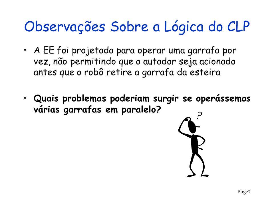 Page48 1 Garrafa: Robô Removeu Garrafa A_startA_endB_startB_endT_startT_endR_startR_end P 2 s/g P 2 vazia P 1 s/gP 1 c/g P 2 cheia P 3 cheiaP 3 c/tampa P 3 s/g P 4 c/gP 4 s/g E_startE_end E_mov (1g, P 1 ->P 2 )