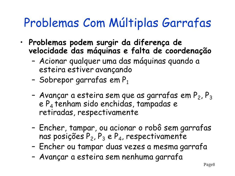 Page8 Problemas Com Múltiplas Garrafas Problemas podem surgir da diferença de velocidade das máquinas e falta de coordenação –Acionar qualquer uma das