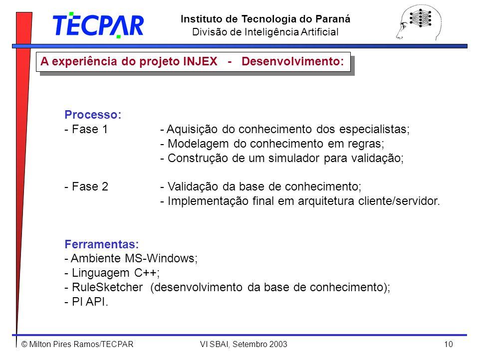 © Milton Pires Ramos/TECPAR VI SBAI, Setembro 2003 10 Instituto de Tecnologia do Paraná Divisão de Inteligência Artificial A experiência do projeto IN