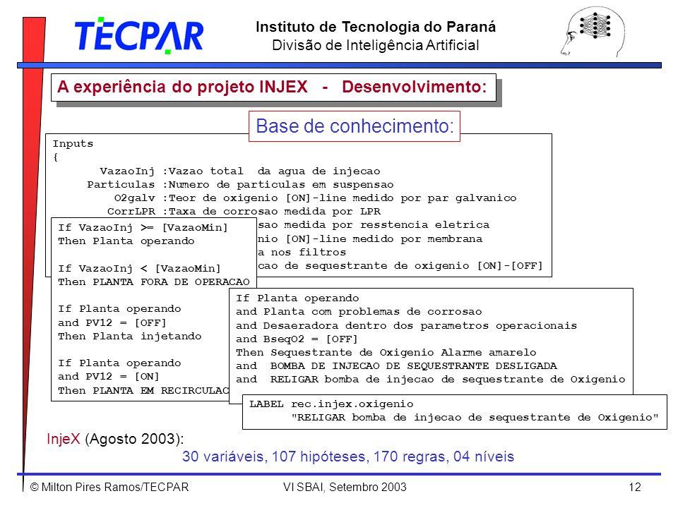 © Milton Pires Ramos/TECPAR VI SBAI, Setembro 2003 12 Instituto de Tecnologia do Paraná Divisão de Inteligência Artificial Inputs { VazaoInj :Vazao to