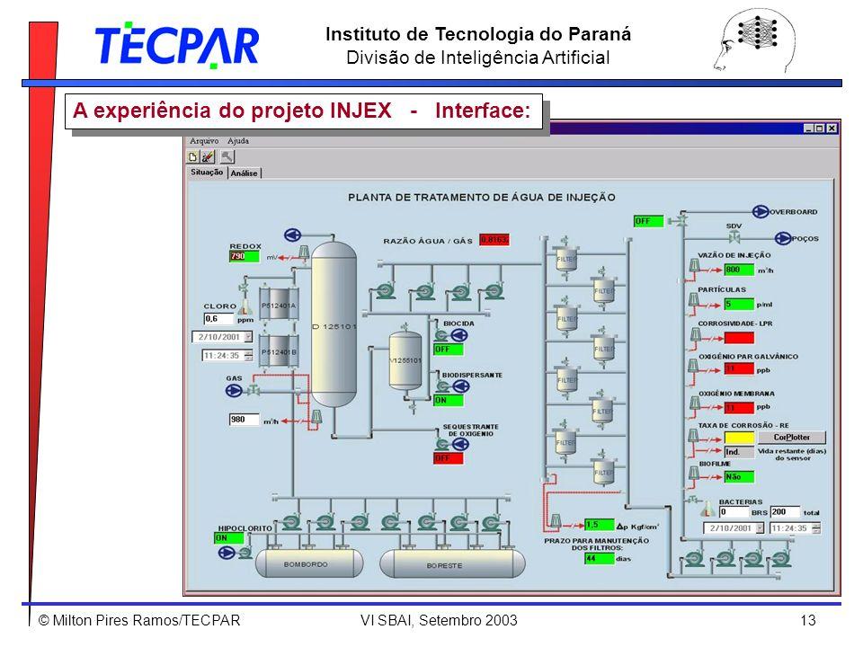 © Milton Pires Ramos/TECPAR VI SBAI, Setembro 2003 13 Instituto de Tecnologia do Paraná Divisão de Inteligência Artificial A experiência do projeto IN