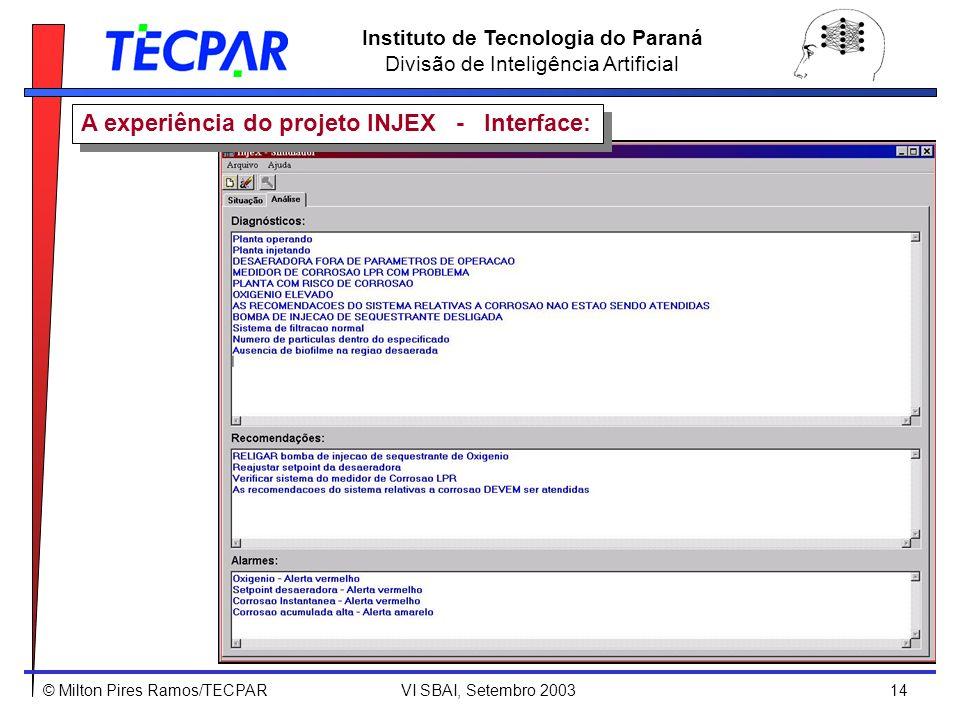 © Milton Pires Ramos/TECPAR VI SBAI, Setembro 2003 14 Instituto de Tecnologia do Paraná Divisão de Inteligência Artificial A experiência do projeto IN