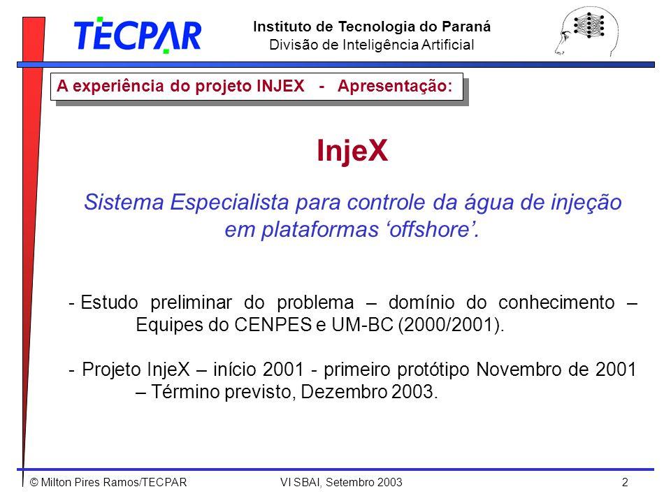 © Milton Pires Ramos/TECPAR VI SBAI, Setembro 2003 2 Instituto de Tecnologia do Paraná Divisão de Inteligência Artificial A experiência do projeto INJ