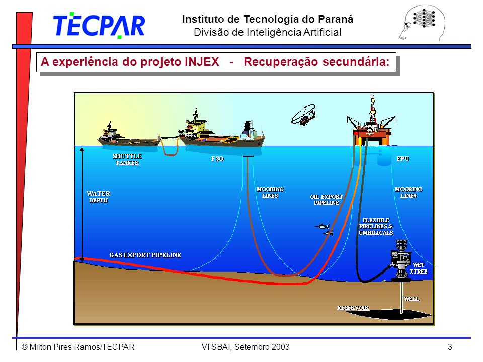 © Milton Pires Ramos/TECPAR VI SBAI, Setembro 2003 4 Instituto de Tecnologia do Paraná Divisão de Inteligência Artificial Produtividade e tempo de vida de um poço de petróleo com/sem injeção de água [Patton 1993] A experiência do projeto INJEX - Recuperação secundária: