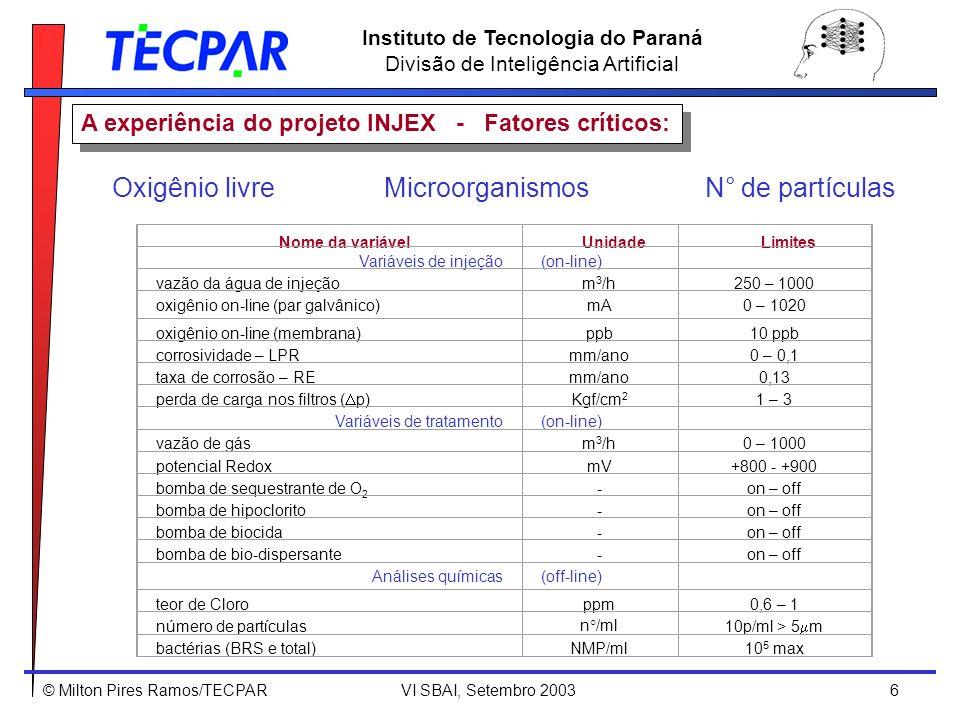 © Milton Pires Ramos/TECPAR VI SBAI, Setembro 2003 7 Instituto de Tecnologia do Paraná Divisão de Inteligência Artificial A experiência do projeto INJEX - Planta de tratamento da água do mar: