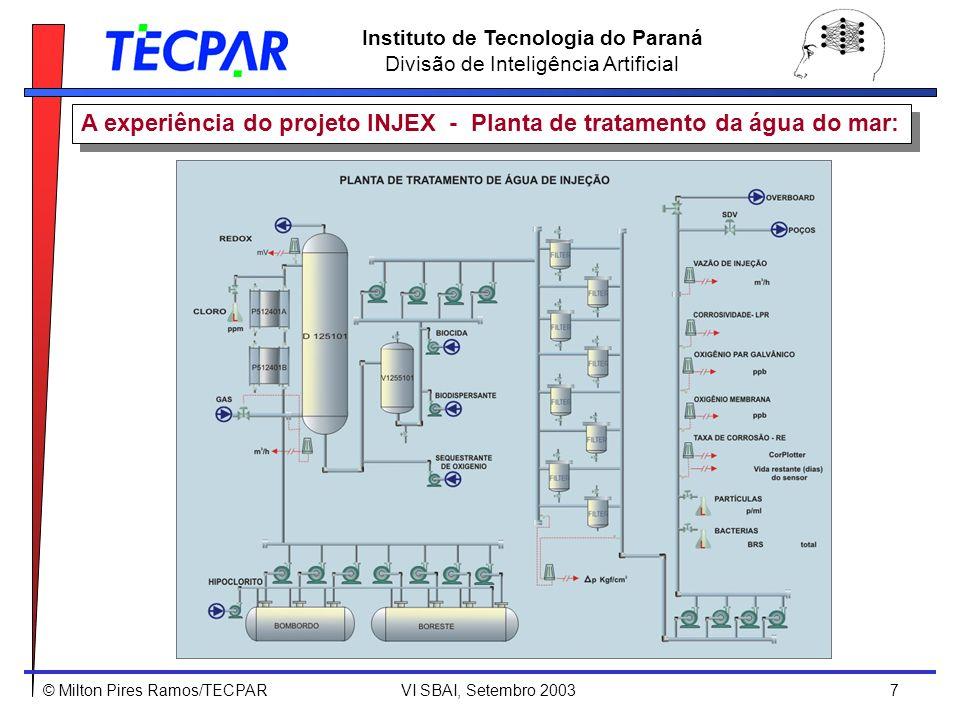 © Milton Pires Ramos/TECPAR VI SBAI, Setembro 2003 8 Instituto de Tecnologia do Paraná Divisão de Inteligência Artificial A experiência do projeto INJEX - Transição de estados na planta: