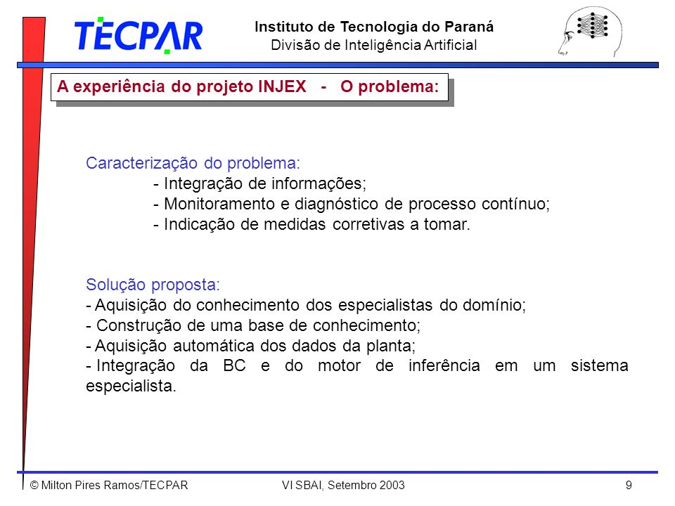 © Milton Pires Ramos/TECPAR VI SBAI, Setembro 2003 9 Instituto de Tecnologia do Paraná Divisão de Inteligência Artificial Caracterização do problema: