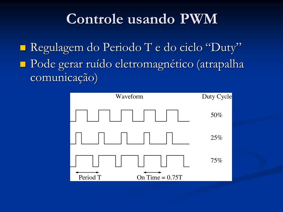 Controle usando PWM Regulagem do Periodo T e do ciclo Duty Regulagem do Periodo T e do ciclo Duty Pode gerar ruído eletromagnético (atrapalha comunicação) Pode gerar ruído eletromagnético (atrapalha comunicação)