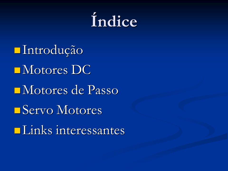 Índice Introdução Introdução Motores DC Motores DC Motores de Passo Motores de Passo Servo Motores Servo Motores Links interessantes Links interessantes