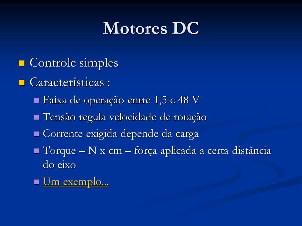 Motores DC Controle simples Controle simples Características : Características : Faixa de operação entre 1,5 e 48 V Faixa de operação entre 1,5 e 48 V