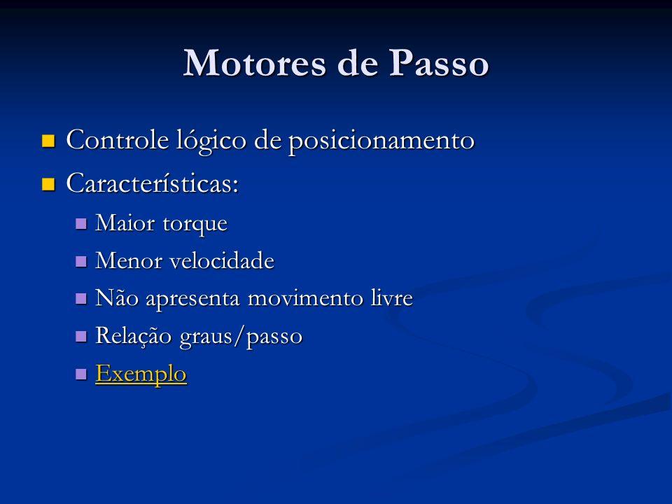 Motores de Passo Controle lógico de posicionamento Controle lógico de posicionamento Características: Características: Maior torque Maior torque Menor
