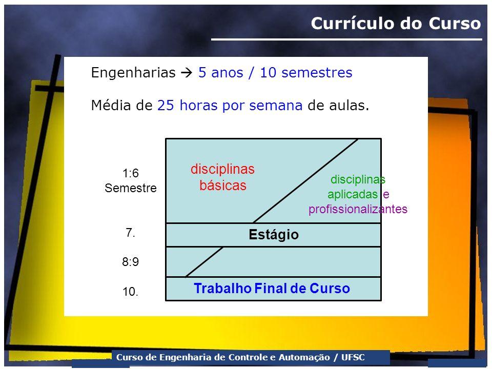 Curso de Engenharia de Controle e Automação / UFSC Currículo do Curso Engenharias 5 anos / 10 semestres Média de 25 horas por semana de aulas. discipl