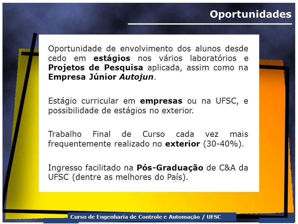 Curso de Engenharia de Controle e Automação / UFSC Oportunidades Oportunidade de envolvimento dos alunos desde cedo em estágios nos vários laboratório