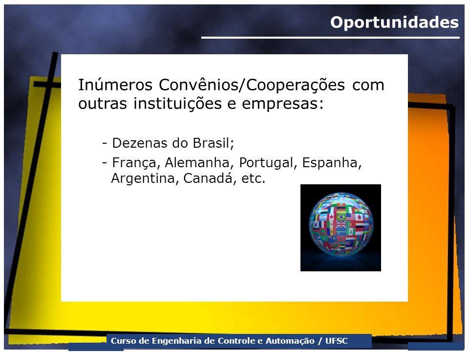Curso de Engenharia de Controle e Automação / UFSC Oportunidades Inúmeros Convênios/Cooperações com outras instituições e empresas: - Dezenas do Brasi