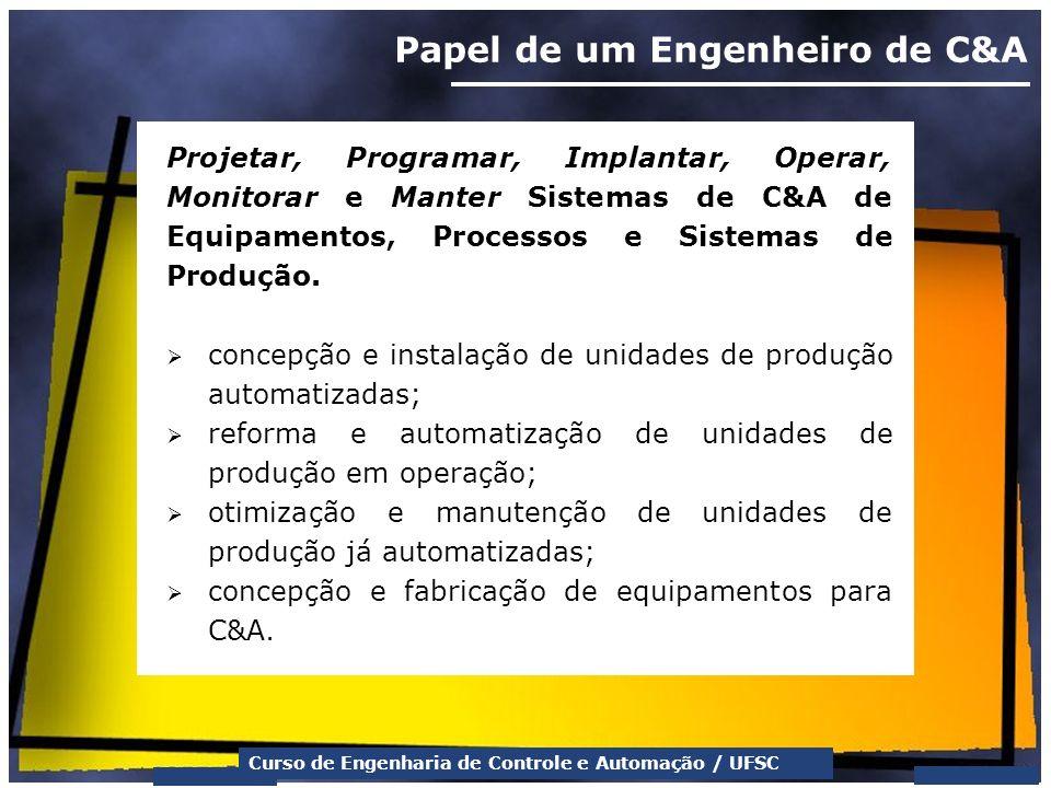 Curso de Engenharia de Controle e Automação / UFSC Papel de um Engenheiro de C&A Projetar, Programar, Implantar, Operar, Monitorar e Manter Sistemas d