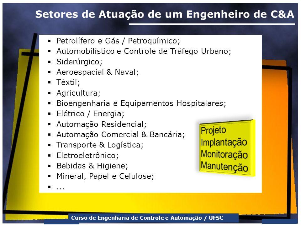 Curso de Engenharia de Controle e Automação / UFSC Setores de Atuação de um Engenheiro de C&A Petrolífero e Gás / Petroquímico; Automobilístico e Cont