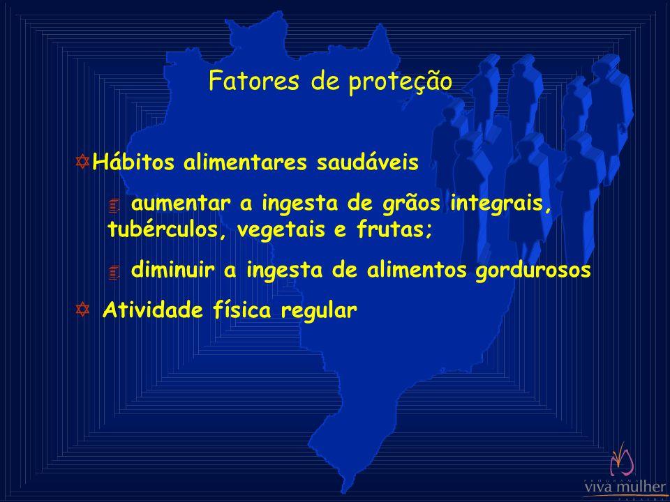 Fatores de proteção YHábitos alimentares saudáveis 4 aumentar a ingesta de grãos integrais, tubérculos, vegetais e frutas; 4 diminuir a ingesta de ali
