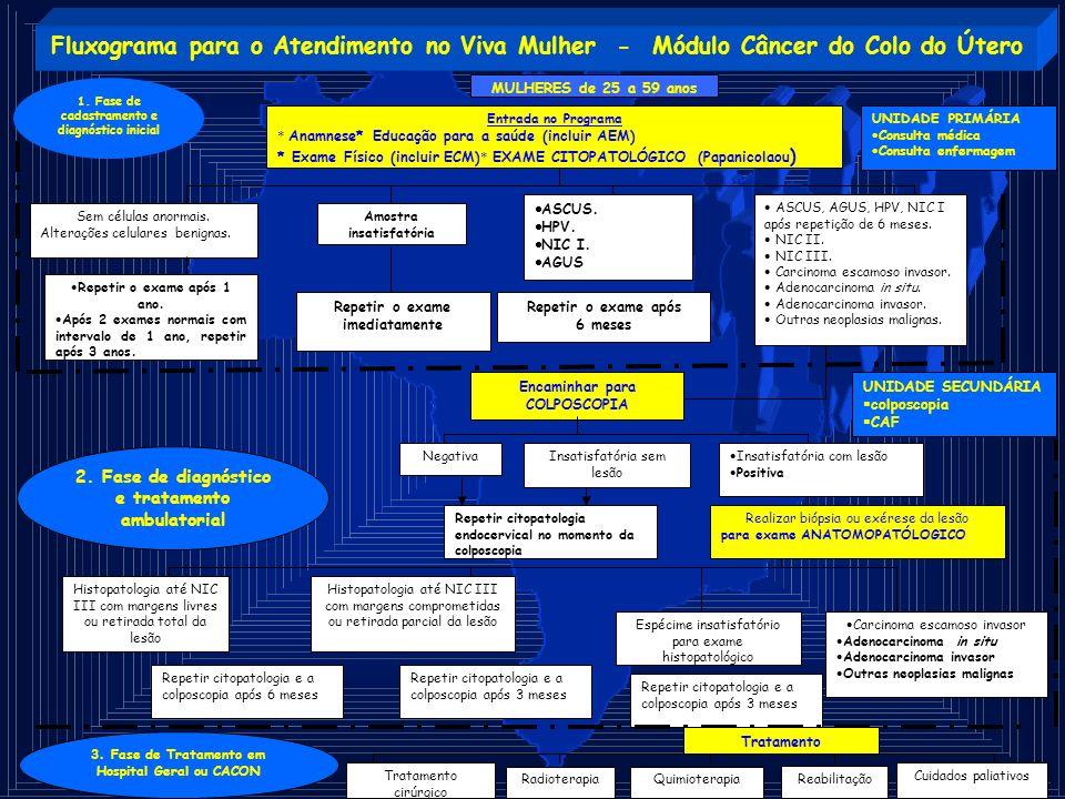 Fluxograma para o Atendimento no Viva Mulher - Módulo Câncer do Colo do Útero 1. Fase de cadastramento e diagnóstico inicial 2. Fase de diagnóstico e